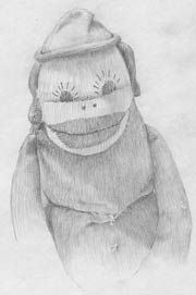Head and shoulders pencil drawing of Tim, my 50 year old sock monkey.